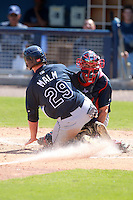 Minnesota Twins minor league catcher Michael Quesada tags out Jeffrey Malm at home plate during an Instructional League game vs. the Tampa Bay Rays at Charlotte Sports Park in Port Charlotte, Florida;  October 5, 2010.  Photo By Mike Janes/Four Seam Images