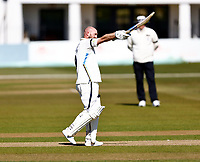 Adam Lyth celebrates his hundred for Yorkshire during Kent CCC vs Yorkshire CCC, LV Insurance County Championship Group 3 Cricket at The Spitfire Ground on 17th April 2021