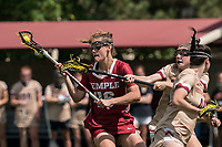 NEWTON, MA - MAY 16: Jen Rodzewich #46 of Temple University brings the ball forward as Courtney Weeks #6 of Boston College defends during NCAA Division I Women's Lacrosse Tournament second round game between Temple University and Boston College at Newton Campus Lacrosse Field on May 16, 2021 in Newton, Massachusetts.