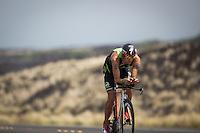 Jordan Rapp on the bike at the 2013 Ironman World Championship in Kailua-Kona, Hawaii on October 12, 2013.
