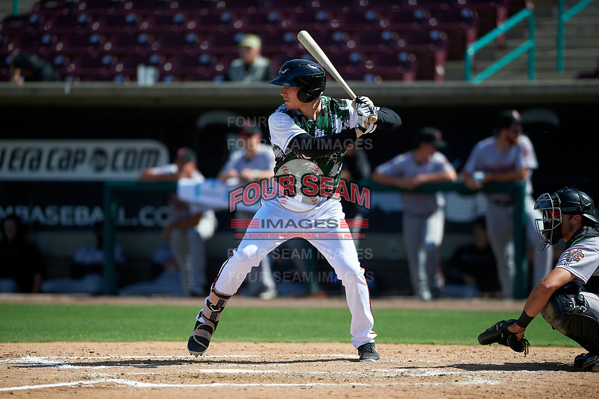 Lake Elsinore Storm designated hitter Taylor Kohlwey (5) during a California League game against the Inland Empire 66ers on April 14, 2019 at The Diamond in Lake Elsinore, California. Lake Elsinore defeated Inland Empire 5-3. (Zachary Lucy/Four Seam Images)