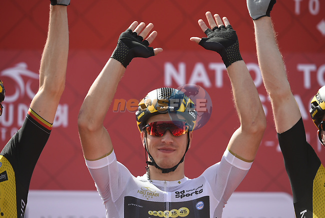 White Jersey holder Danny Van Poppel (NED) Team Lotto NL-Jumbo at sign on before the start of Stage 3 of the 2018 Abu Dhabi Tour, Nation Towers Stage running 133km from Nation Towers to Big Flag, Abu Dhabi, United Arab Emirates. 23rd February 2018.<br /> Picture: LaPresse/Fabio Ferrari   Cyclefile<br /> <br /> <br /> All photos usage must carry mandatory copyright credit (© Cyclefile   LaPresse/Fabio Ferrari)