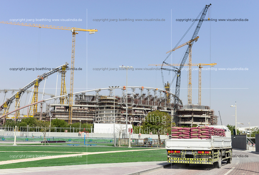 QATAR, Doha, construction site Khalifa International Stadium for FIFA world cup 2022, built by contractor midmac and sixt contract / KATAR, Doha, Baustelle Khalifa International Stadium fuer die  FIFA Fussballweltmeisterschaft 2022, LKW mit Zement