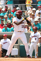 University of South Carolina Gamecocks centerfielder Jackie Bradley jr. #19at bat during the 2nd and deciding game of the NCAA Super Regional vs. the University of Coastal Carolina Chanticleers on June 13, 2010 at BB&T Coastal Field in Myrtle Beach, SC.  The Gamecocks defeated Coastal Carolina 10-9 to advance to the 2010 NCAA College World Series in Omaha, Nebraska. Photo By Robert Gurganus/Four Seam Images