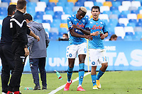 Victor Osimhen of SSC Napoli celebrates with team mate after scoring a goal  and Hirving Lozano<br /> during the Serie A football match between SSC Napoli and Atalanta BC at stadio San Paolo in Napoli (Italy), October 17th, 2020. <br /> Photo Cesare Purini / Insidefoto