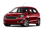 Stock pictures of low aggressive front three quarter view of a 2019 Ford Ka+ Ultimate 5 Door Hatchback
