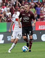 2nd October 2021; Arechi Stadium, Salerno, Italy; Serie A football, Salernitana versus Genoa : Frank Ribery of Salernitana outpaces Nicolò Rovella of Genoa