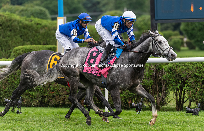 July 17, 2021: Althiqa #8, ridden by jockey Manny Franco wins the Diana Stakes (Grade 1) for fillies and mares four years and upward at Saratoga Race Course in Saratoga Springs, New York on July 17, 2021. Rob Simmons/Eclipse Sportswire/CSM