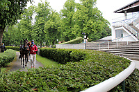 15th May 2020, Muenchen-Riem racecourse, Munich, Germany. Flat racing;  No spectators at the parade ring in times of corona pandemic