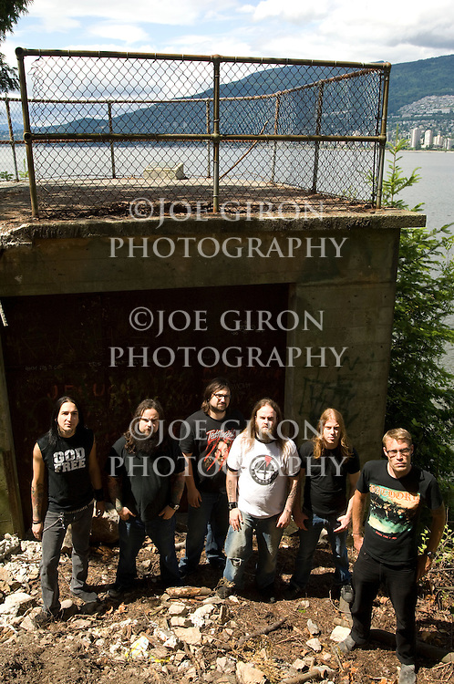 Portrait session of Roadruner Records recording artists, Three Inches of Blood