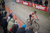 Mathieu Van der Poel (NLD/BKCP-Corendon) got thrown back after a race incident with Wout Van Aert & wouldn't fully return to the front of the race after that<br /> <br /> Men's Elite Race<br /> <br /> UCI 2016 cyclocross World Championships,<br /> Zolder, Belgium