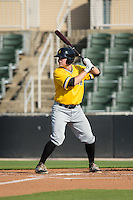 Chase Simpson (10) of the West Virginia Power at bat against the Kannapolis Intimidators at CMC-Northeast Stadium on April 21, 2015 in Kannapolis, North Carolina.  The Power defeated the Intimidators 5-3 in game one of a double-header.  (Brian Westerholt/Four Seam Images)