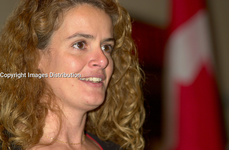 Jan 16,  2001, Montreal, Quebec, Canada<br /> Julie Payette - Chief Astronaut The Canadian Space Agency gives a speech in front of the Canadian Club of Montreal , Wednesday, January 16th, 2002<br />     <br />   Julie Payette flew on Space Shuttle Discovery from May 27 to June 6, 1999<br /> as part of the crew of STS 96. Aboard the Space Shuttle, Ms. Payette served as a mission specialist and was only the third Canadian to operate the Canadarm<br /> on orbit.<br /> <br />     Since September 2000, Julie Payette is the Chief Astronaut for the Canadian Space Agency. She currently works as a liaison officer and member of<br /> the Crew Test Support Team responsible for ISS test activities in Russia and in Europe.<br /> <br /> Mandatory Credit: Photo by Pierre Roussel- Images Distribution. (©) Copyright 2002 by Pierre Roussel <br /> ON SPEC<br /> NOTE l Nikon D-1 jpeg opened with Qimage icc profile, saved in Adobe 1998 RGB.