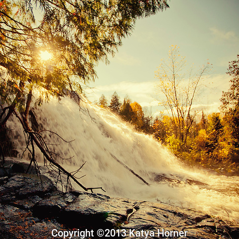 Bond Falls in Michigan's Upper Peninsula in the late afternoon. The fall foliage was past peak when I was there, but as with most waterfalls, the beauty remains in any season.  Taken in mid-October.