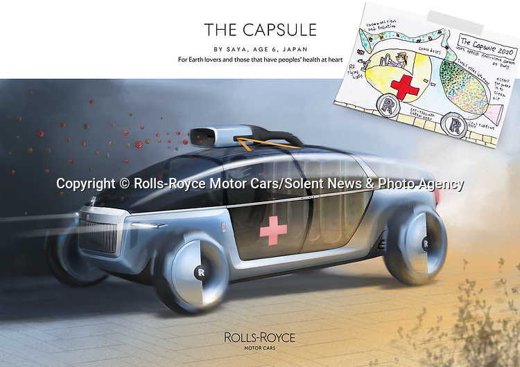Pictured: Rolls-Royce Capsule, by Saya aged 6 from Japan. Environment Category Winner in the Rolls-Royce young designer competition.<br /> <br /> Rolls Royce has unveiled what may be the future of motor transport - a car based on a bumblebee and powered by honey.  The prestigious British car manufacturer brought to life a series of the best futuristic concepts, including the outlandish bee car which features wings and was designed by an 11 year old schoolgirl.<br /> <br /> More than 5,000 designs and blueprints were submitted by children across 80 countries as part of a competition during lockdown. The firm's design team at Goodwood, West Sussex, then used the same software they would for a real Rolls-Royce project to digitally enhance the drawings. SEE OUR COPY FOR DETAILS.<br /> <br /> Please byline: Rolls-Royce Motor Cars/Solent News<br /> <br /> © Rolls-Royce Motor Cars/Solent News & Photo Agency<br /> UK +44 (0) 2380 458800