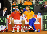 September 14, 2014, Netherlands, Amsterdam, Ziggo Dome, Davis Cup Netherlands-Croatia, Thiemo de Bakker on the Dutch bench with captain Jan Siemerink (NED)<br /> Photo: Tennisimages/Henk Koster
