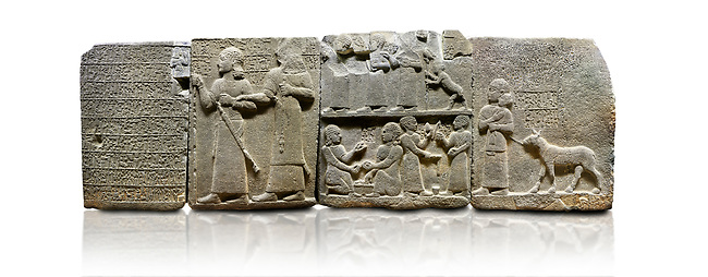 "Hittite monumental relief sculpted orthostat stone panel of Royal Buttress. Basalt, Karkamıs, (Kargamıs), Carchemish (Karkemish), 900-700 B.C. Anatolian Civilisations Museum, Ankara, Turkey.<br /> <br /> Hieroglyph panel1 (left) - Discourse of Yariris. Yariris presents his predecessor, the eldest son Kamanis, to his people. <br /> Second From left panel 2  -  King Araras holds his son Kamanis from the wrist. King carries a sceptre in his hand and a sword at his waist while the prince leans on a stick and carries a sword on his shoulder. <br /> Hieroglyphs reads; ""This is Kamanis and his siblings.) held his hand and despite the fact that he is a child, I located him on the temple. This is Yariris' image"".  <br /> <br /> Panel 3 - This panels scene showing 8 out of 10 children of the King, the hieroglyphs reads as follows: ""Malitispas, Astitarhunzas, Tamitispas,Isikaritispas, Sikaras, Halpawaris, Ya hilatispas"". Above, there are three figures holding knucklebones (astragalus) and one figure walking by leaning on a stick; below are two each figures playing the knucklebones and turning whirligigs.<br />  <br /> Panel 4 - The queen carries her youngest son. The hieroglyphs located above read; ""and this is Tuwarsais; the prince desired by the ruler, whose exclusiveness has been exposed"". While the queen carries her son in her lap, she holds the rope of the colt coming behind with her other hand. The muscles of the colt are schematic. <br /> <br /> Against a white background."