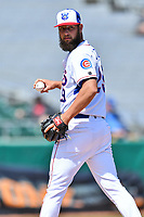 Tennessee Smokies starting pitcher Trevor Clifton (29) looks the runner back at first during a game against the Jackson Generals at Smokies Stadium on April 11, 2018 in Kodak, Tennessee. The Generals defeated the Smokies 6-4. (Tony Farlow/Four Seam Images)
