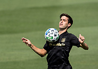 LOS ANGELES, CA - AUGUST 22: Francisco Ginella #8 of the LAFC traps a ball during a game between Los Angeles Galaxy and Los Angeles FC at Banc of California Stadium on August 22, 2020 in Los Angeles, California.