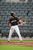 Fayetteville Woodpeckers Humberto Castellanos (45) at bat during a Carolina League game against the Down East Wood Ducks on August 13, 2019 at SEGRA Stadium in Fayetteville, North Carolina.  Fayetteville defeated Down East 5-3.  (Mike Janes/Four Seam Images)