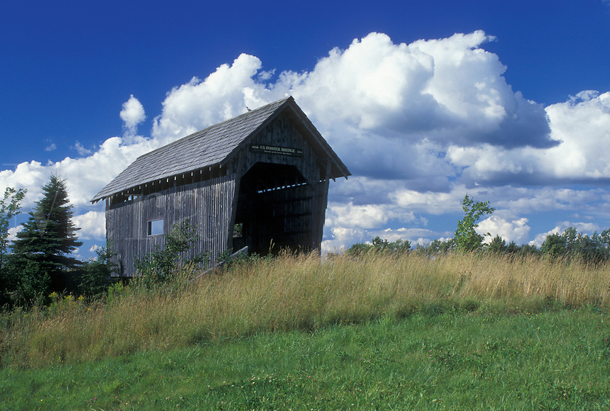 covered bridge, Vermont, VT, Foster Covered Bridge with blue sky and white puffy clouds in Cabot.