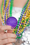 Woman with New Orleans Mardi Gras decoration