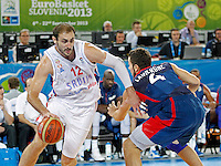 Nenad Krstic of Serbia in action during European basketball championship Eurobasket 2013, round 2, group E  basketball game between Serbia and France in Stozice Arena in Ljubljana, Slovenia, on September 15. 2013. (credit: Pedja Milosavljevic  / thepedja@gmail.com / +381641260959)