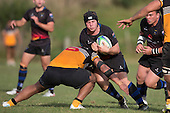 Andrew Jones charges in to Sonatani Tuiono. Counties Manukau Premier Club rugby game between Te Kauwhata and Onewhero, played at Te Kauwhata on Saturday April 16th 2016. Onewhero won the game 37 - 0 after leading 13 - 0 at Halftime. Photo by Richard Spranger.