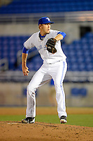 Dunedin Blue Jays pitcher Andrew Meyer #6 during a game against the Tampa Yankees on April 11, 2013 at Florida Auto Exchange Stadium in Dunedin, Florida.  Dunedin defeated Tampa 3-2 in 11 innings.  (Mike Janes/Four Seam Images)
