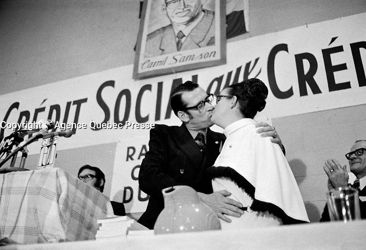 Ralliement des créditistes au centre Mgr. Marcoux à Québec - Camille Samson<br /> , les  18 et 19 mars 1972<br /> <br /> Photographe : Photo Moderne