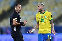10th July 2021, Estádio do Maracanã, Rio de Janeiro, Brazil. Copa America tournament final, Argentina versus Brazil;  Referee Esteban Ostojich and Neymar of Brazil
