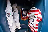 The locker of Christie Rampone (3) of the United States (USA) prior to an international friendly against Germany (GER) at Rentschler Field in East Hartford, CT, on October 23, 2012.