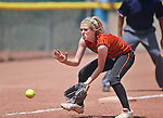 Douglas Tigers' Morgan Gunnell makes a play against the Galena Grizzlies in a first round game of the NIAA northern region softball tournament in Reno, Nev., on Thursday, May 15, 2014. Galena won 5-4.<br /> Photo by Cathleen Allison