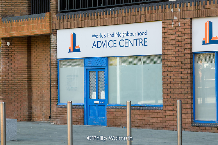 Advice Centre on World's End Estate, Chelsea, London.