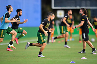 LAKE BUENA VISTA, FL - JULY 18: Sebastián Blanco #10 of the Portland Timbers warms up during a game between Houston Dynamo and Portland Timbers at ESPN Wide World of Sports on July 18, 2020 in Lake Buena Vista, Florida.