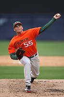 March 2, 2010:  Pitcher Steven Ewing (55) of the Miami Hurricanes during a game at Legends Field in Tampa, FL.  Photo By Mike Janes/Four Seam Images