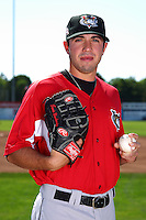 Tri-City ValleyCats pitcher Travis Blankenship #14 poses for a photo before a game against the Batavia Muckdogs at Dwyer Stadium on July 15, 2011 in Batavia, New York.  Batavia defeated Tri-City 4-3.  (Mike Janes/Four Seam Images)