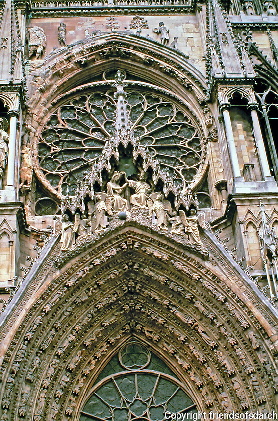 Detail of portal of Reims Cathedral in Reims, France. Traditional location for the coronation of the kings of France.