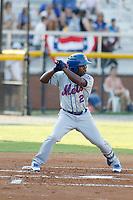 Kingsport Mets infielder Luis Santana (2) at bat during a game against the Burlington Royals at Burlington Athletic Complex on July 28, 2018 in Burlington, North Carolina. Burlington defeated Kingsport 4-3. (Robert Gurganus/Four Seam Images)