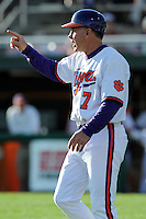 Head Coach Jack Leggett #7 of the Clemson Tigers gives signals during  a game against the North Carolina Tar Heels at Doug Kingsmore Stadium on March 9, 2012 in Clemson, South Carolina. The Tar Heels defeated the Tigers 4-3. Tony Farlow/Four Seam Images.