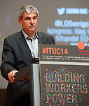 Berlin-Germany - May 21, 2014 -- International Trade Union Confederation - 3rd ITUC World Congress 'Building Workers' Power'; here, Plamen Dimitrov, President of CITUB, gives the report from the Standing Orders Committee -- Photo: © HorstWagner.eu / ITUC