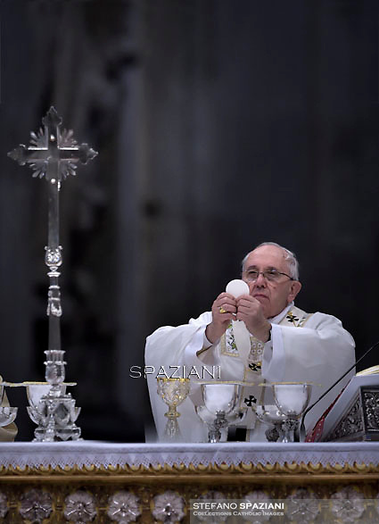 Pope Francis Chrismal mass in the morning of Holy Thursday at St Peter's basilica.April 2,2015