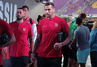 Orlando, FL - Friday Oct. 06, 2017: Clint Dempsey, Geoff Cameron during a 2018 FIFA World Cup Qualifier between the men's national teams of the United States (USA) and Panama (PAN) at Orlando City Stadium.