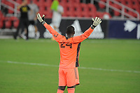 WASHINGTON, DC - AUGUST 25: Bill Hamid #24 of D.C. United during a game between New England Revolution and D.C. United at Audi Field on August 25, 2020 in Washington, DC.