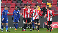 Mads Bech Sorensen celebrates scoring Brentford's opening goal during Brentford vs Leicester City, Emirates FA Cup Football at the Brentford Community Stadium on 24th January 2021