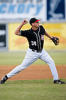 Third baseman Bobby Spain (38) of the Hickory Crawdads makes a throw to first base at L.P. Frans Stadium in Hickory, NC, Sunday, May 4, 2008.