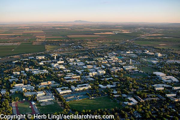 aerial photograph of  Davis, Yolo County, California toward Mount Diablo, in the background