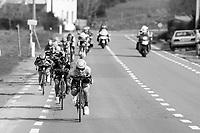 Alexey Lutsenko (KAZ/Astana) speeding ahead in the breakaway group<br /> <br /> 72nd Dwars Door Vlaanderen (1.UWT)<br /> 1day race: Roeselare › Waregem BEL (203.4km)