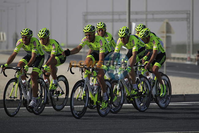 Farnese Vini-Selle Italia team warms up before the 2nd Stage of the 2012 Tour of Qatar an 11.3km team time trial at Lusail Circuit, Doha, Qatar. 6th February 2012.<br /> (Photo Eoin Clarke/Newsfile)