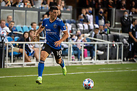 SAN JOSE, CA - JULY 24: Cristian Espinoza #10 of the San Jose Earthquakes dribbles the ball during a game between San Jose Earthquakes and Houston Dynamo at PayPal Park on July 24, 2021 in San Jose, California.